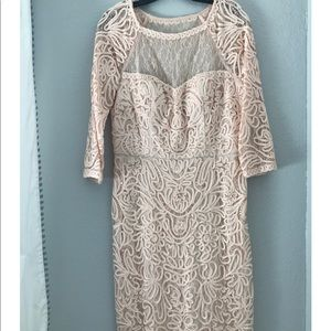 Lace Blush Pink & Sequins Long-sleeved party dress